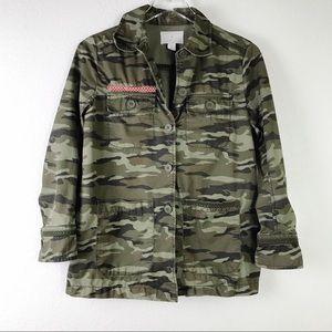 Caslon Olive Camo Print 100% Cotton Army Utility Jacket Size XS Petite
